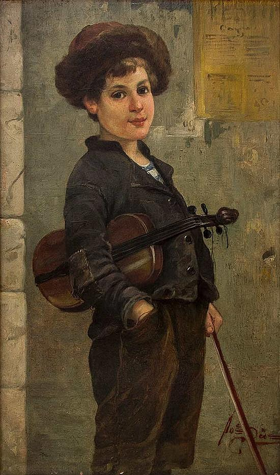 Josef Suss 1892-1961 (Austrian) The young Jewish violinist oil on cardboard