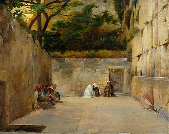 **Theodore Jacques Ralli 1852-1909 (Greek) Wailling Wall, Jerusalem oil on panel