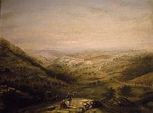 **Attributed to William Henry Bartlett 1809-1854 (British) Caravan facing Jerusalem oil on canvas