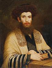 Follower of Isidor Kaufmann 1853-1921 (Austrian, Hungarian) Rabbi with streimel oil on panel