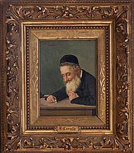 **European School 19th century Rabbi reading oil on panel