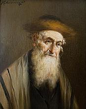 Lajos Koloszvary 1871-1937 (Hungarian) Rabbi oil on panel