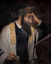 Josef Süss 1892-1961 (Austrian) Rabbi reading oil on canvas