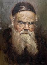 Unknown artist 20th century Rabbi oil on cardboard