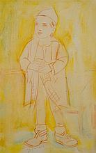 Pinchas Litvinovsky 1894-1985 (Israeli) Religious boy red chalk and gouache on paper mounted on cardboard