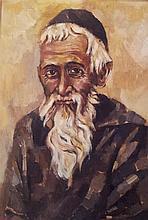 Moshe Gat b.1935 (Israeli) Rabbi oil on canvas