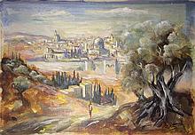 Moshe Matus (Matusovski) 1908-1958 (Israeli) View of Jerusalem gouache on cardboard