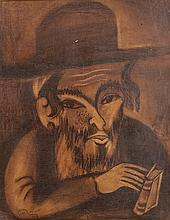 Issachar Ber Ryback 1897-1935 (Russian) Portrait, 1916 wax chalk and lavis on paper