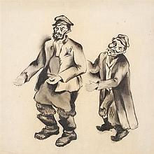 Issachar Ber Ryback 1897-1935 (Russian) Two men charcoal on paper