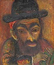 Issachar Ber Ryback 1897-1935 (Russian) Rabbi oil on cardboard