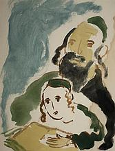 Mané Katz 1894-1962 (Ukrainian, French) Father and son watercolor on paper