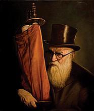 Albert Benaroya b.1963 (Israeli) Brittish rabbi with a sefer Torah oil on canvas