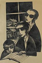 Moshe Bernstein 1920-2006 (Israeli) Three children studying ink on paper