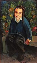 Unidentified Israeli artist 20th century Jewish boy oil on canvas