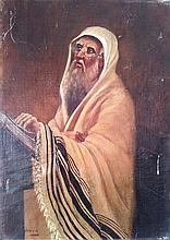 Bezalel School early 20th century Praying Jew oil on canvas
