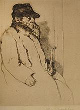 William Auerbach Levy 1889-1964 (Russian, American) Portrait of an old man etching