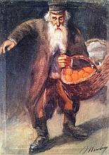 Unidentified artist 20th century Old Jew with basket of fruit oil on canvas
