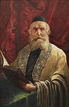 **Schachmanov late 19th century Jewish man in tallit oil on canvas