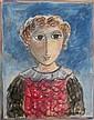 Yosl Bergner b.1920 (Israeli) Girl, 1980s watercolor on paper