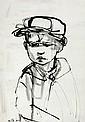 Ruth Schloss b.1922 (Israeli) Boy india ink on paper