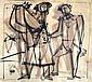 Jankel Adler 1895-1949 (Polish) Lot including 2 drawings (different sizes)- Figures ink on paper
