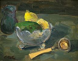 **Leo Kahn 1894-1983 (Israeli) Still life with lemons and spoon oil on panel