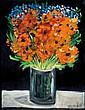 Yosl Bergner b.1920 (Israeli) Flowers oil on canvas