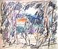 Arieh Lubin 1897-1980 (Israeli) Landscape pastel on paper