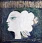 Sami Briss b.1930 (Israeli, French) Figure mixed media and gold leaf on board