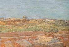 Hermann Struck 1876-1944 (Israeli) Jerusalem, View from the Mount of Olives, 1935 oil on board