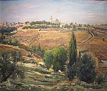 Ludwig Blum 1891-1975 (Israeli) Jerusalem landscape, 1960 oil on canvas