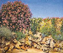 Ludwig Blum 1891-1975 (Israeli) A garden in Jerusalem, 1936 oil on canvas