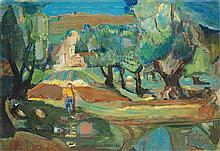 Mordechai Levanon 1901-1968 (Israeli) Galilee landscape, 1945 oil on canvas