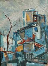 Yaacov Eisenscher 1896-1980 (Israeli) Urban landscape with a tree oil on canvas mounted on board