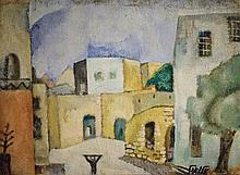 Arieh Allweil 1901-1967 (Israeli) Village landscape in the Galilee, 1920's oil on canvas