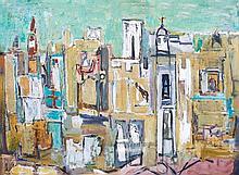 Yehiel Krize 1908-1968 (Israeli) Urban landscape oil on cardboard