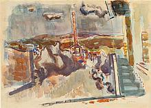 Avigdor Stematsky 1908-1989 (Israeli) Landscape watercolor on paper