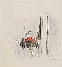 Liliane Klapisch b.1933 (Israeli) Vase of flowers pastel on paper
