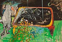 Uri Lifshitz 1936-2011 (Israeli) The billiard player, 1970 oil on cardboard