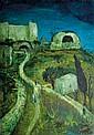 Moshe Castel 1909-1991 (Israeli) On the road to Hebron, Rachel's tomb, 1930's oil on canvas