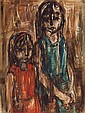 Ruth Schloss b.1922 (Israeli) Two girls oil on masonite
