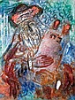 **After Reuven Rubin 1893-1974 (Israeli) Rabbi with Torah painted glass relief