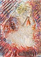**After Reuven Rubin 1893-1974 (Israeli) Moses with tablets, 1970 painted glass relief