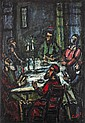 **Moshe Castel 1909-1991 (Israeli) Shabbat dinner oil on canvas