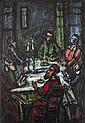 **Moshe Castel 1909-1991 (Israeli) Shabbat dinner oil on canvas