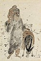 **Reuven Rubin 1893-1974 (Israeli) Woman with child and donkey india ink and wash on paper