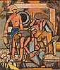 Yohanan Simon 1905-1976 (Israeli) Figures in the Kibbutz, 1950 oil on masonite