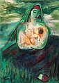 Reuven Rubin 1893-1974 (Israeli) Mother and child, 1972 oil on canvas