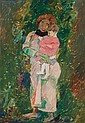 Pinchas Litvinovsky 1894-1984 (Israeli) Mother and child oil on canvas