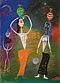 Moshe Castel 1909-1991 (Israeli) Rachel at the well gouache and pastel crayons on paper
